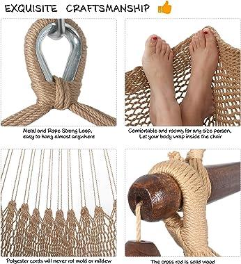 Moonlight Large Caribbean Hammock Hanging Chair, Durable Polyester Hanging Chair, Indoor/Outdoor Garden & Living Room