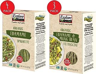 Explore Cuisine Organic Edamame Pasta Variety Pack - Edamame Spaghetti (4 Boxes) & Edamame & Mung Bean Fettuccine (3 Boxes) - 8 oz - High Protein, Gluten Free Pasta - 28 Total Servings
