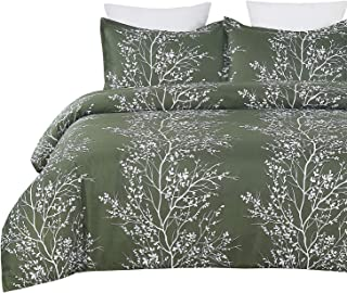 Vaulia Lightweight Microfiber Duvet Cover Set, Green and White Tree Branches Printed Pattern - Twin Size