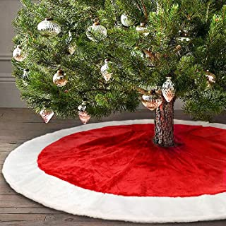 yuboo Red and White Christmas Tree Skirt, 50 Inches Velvet Xmas Tree Decorations