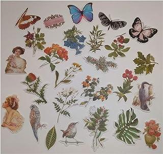 Gurxi Vintage Autocollants Scrapbooking Fleurs Autocollants de Scrapbooking Nature Autocollants Naturels de Journal pour S...