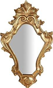 Biscottini Espejo Espejo de Pared de Madera Acabado Hoja Oro Envejecido Made in Italy L25X pr2,5X H40CM