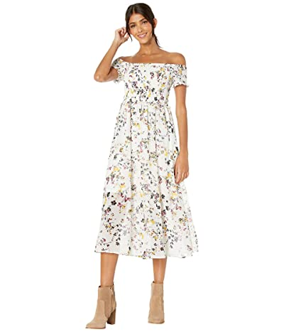 Sam Edelman Floral Smocked Off-the-Shoulder Maxi Dress (White Multi) Women