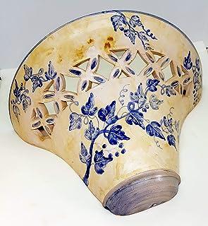 Plafoniera da Parete Traforata Ceramica Edere Blu Realizzato e Dipinto a mano Nina Palomba Made in Italy Dimensioni 33 x 2...