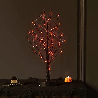 LITBLOOM Pre Lit Halloween Tree 80L Orange Fairy Lights, Lighted Spooky Tree Battery Operated or USB Plug in with Timer 18...