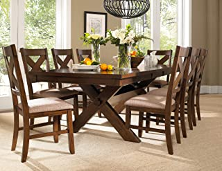 44d9acea0b Roundhill Furniture Karven 9-Piece Solid Wood Dining Set with Table and 8  Chairs
