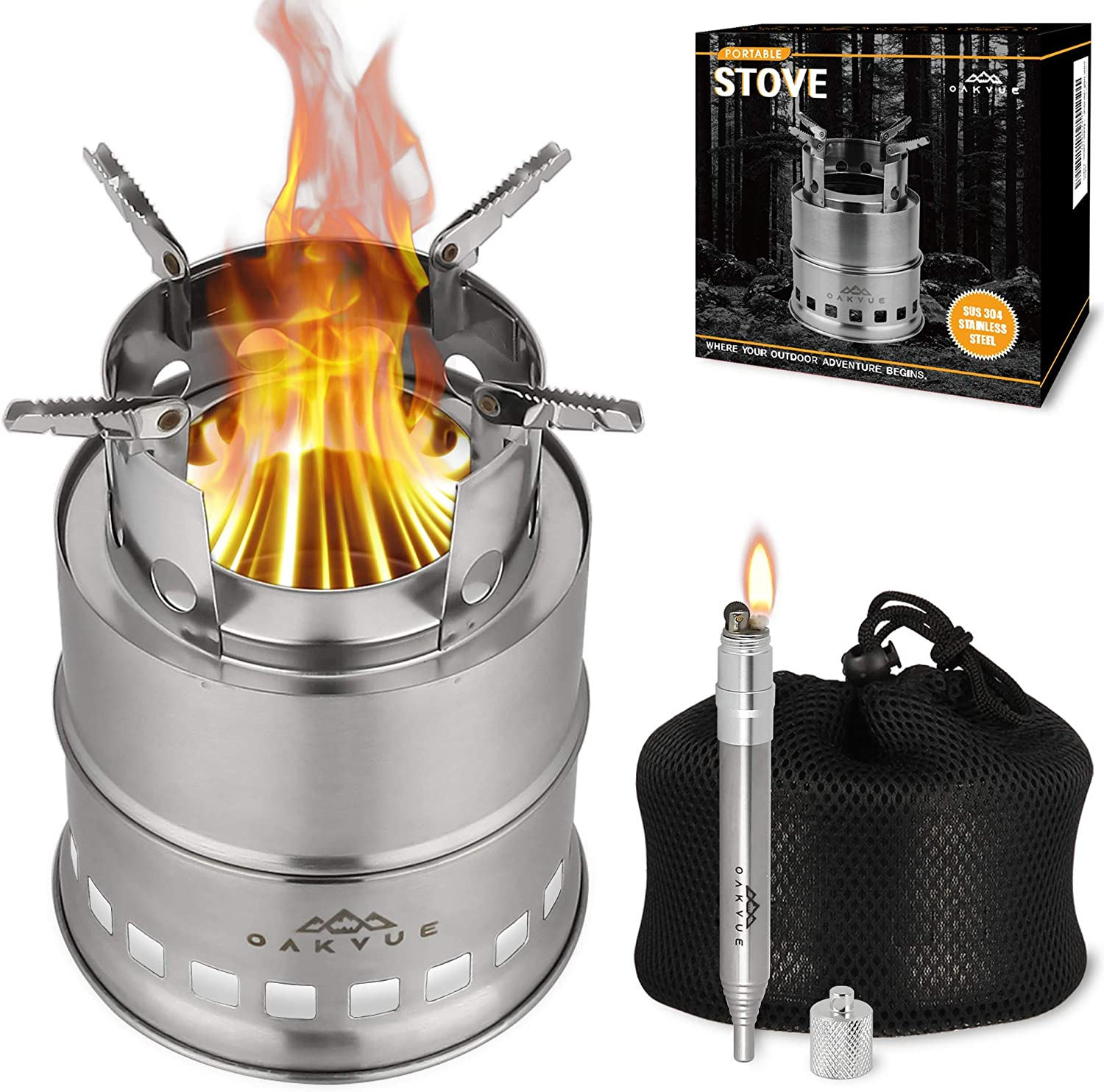 OAKVUE Portable Camping Stove – Stainless Steel Camping Cookware – Lightweight Backpack Stove – Mini Wood Burning Stove for Camping and Hiking – Gasifier Camp Stove – Fire Bellow Lighter Bonus