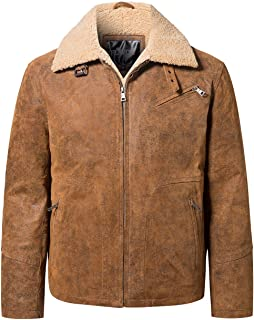 Men's Real Leather Casual Jacket with Faux Fur Shearling