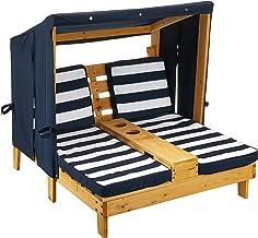 KidKraft 524 Trä Dubbel Chaise Lounge med mugghållare, Utomhus Trädgårdsmöbler för barn Barn, Marinblå och Vit