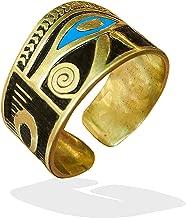 bonballoon Egyptian Horus eye Finger Ring Eye of Horus FingerRing Hieroglyphics Pharaoh Goddess Eye of Horus Solid Brass Hand Engraved Adjustable Egypt pharaohs Costume Jewelry Accessory Handmade