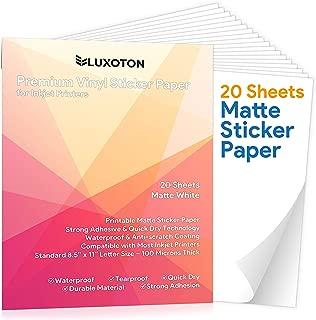 Premium Printable Vinyl Sticker Paper - 20 Matte White Waterproof Decal Paper Sheets for Inkjet Printer Self-Adhesive Standard Letter Size 8.5
