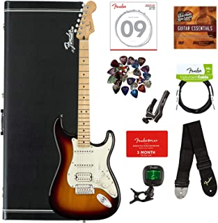 Fender Player Stratocaster HSS, Maple - 3-Color Sunburst Bundle with Hard Case, Cable, Tuner, Strap, Strings, Picks, Capo, Fender Play Online Lessons, and Austin Bazaar Instructional DVD