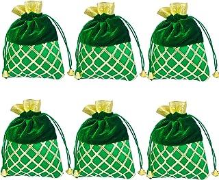 Evisha Women's Velvet Satin Potli Bags (Green, 25 cm x 18) -6 Pieces
