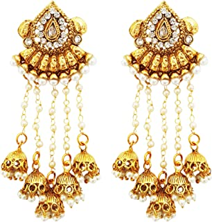 Crystals & Pearls Long Earrings With Five Jhumkis (Free Kan Chain)