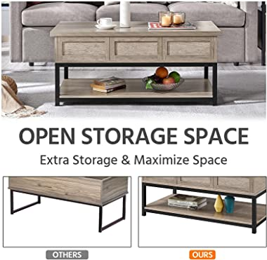 Yaheetech Lift Top Coffee Table with Hidden Compartments & Open Shelf Rising Center/Acent Table for Living Room Reception