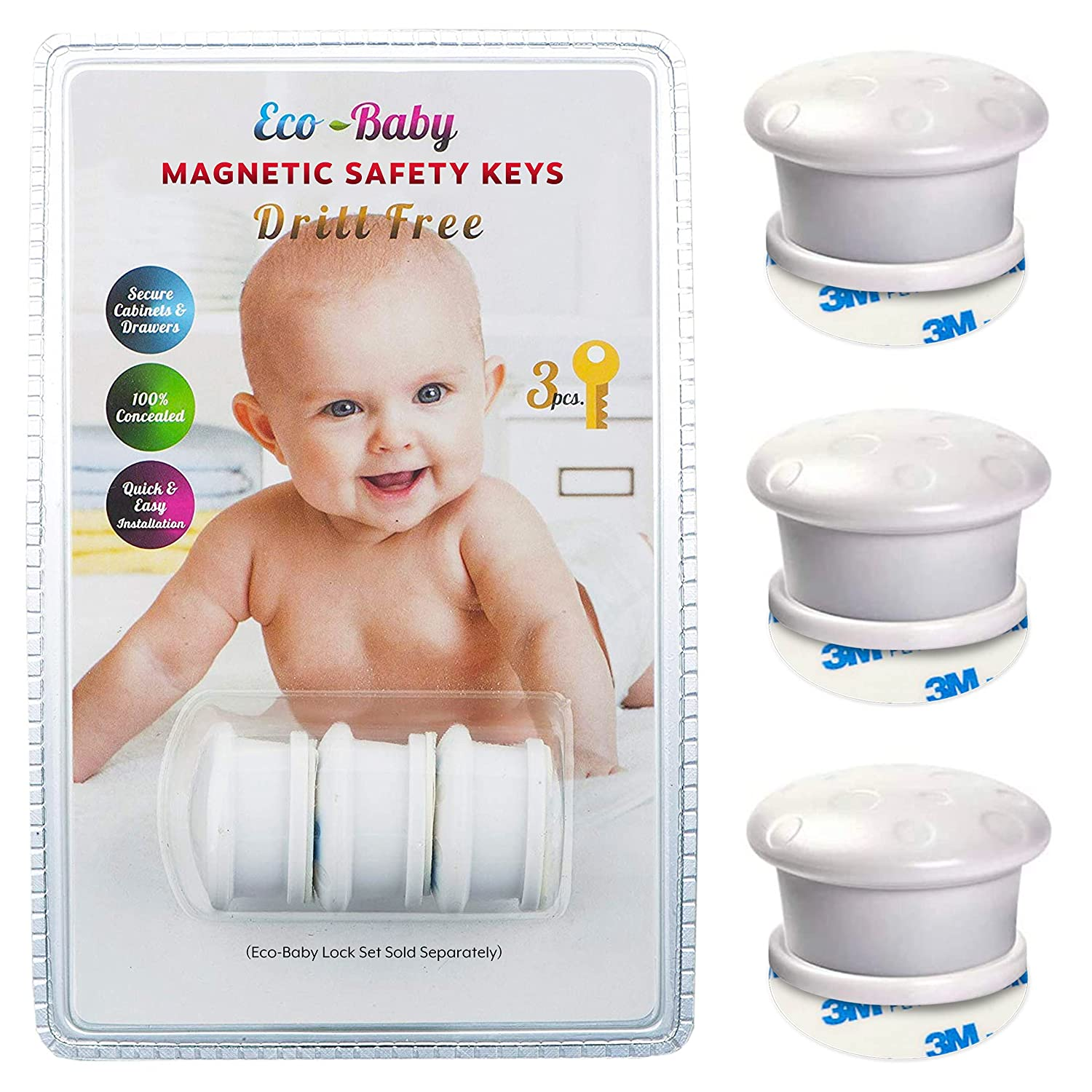 Universal Replacement Keys for Magnetic Cabinet Locks Child Safety for Drawers and Cabinets - Child Proof Cabinet Locks (3 Keys Only) by Eco-Baby