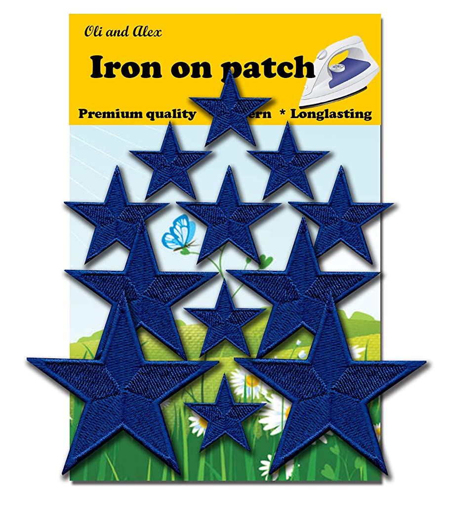 Iron On Patches - Blue Star Patch 12 pcs Iron On Patch Embroidered Applique A-192