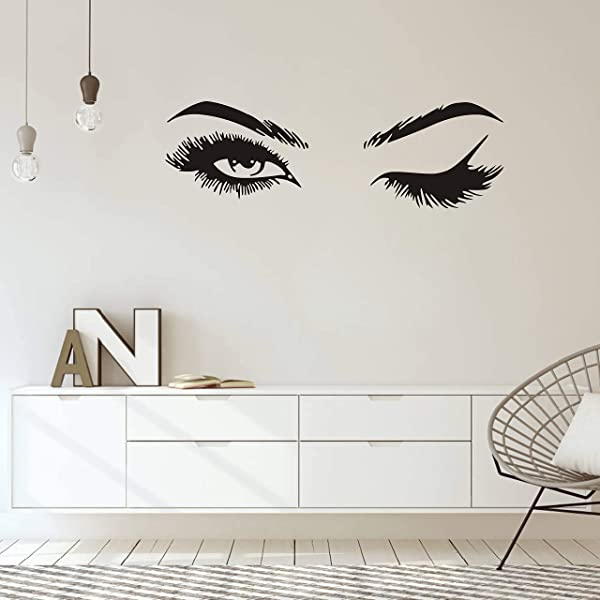 Fashionista Girl Wink Wall Decal With Beautiful Charming Eyelashes Easy Peel And Stick Woman Mural Vinyl Art Decor For Living Room Bedroom Y38 Big