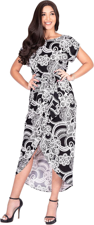 KOH KOH Womens Long Floral Print Casual Asymmetrical Short Sleeve Midi Dress
