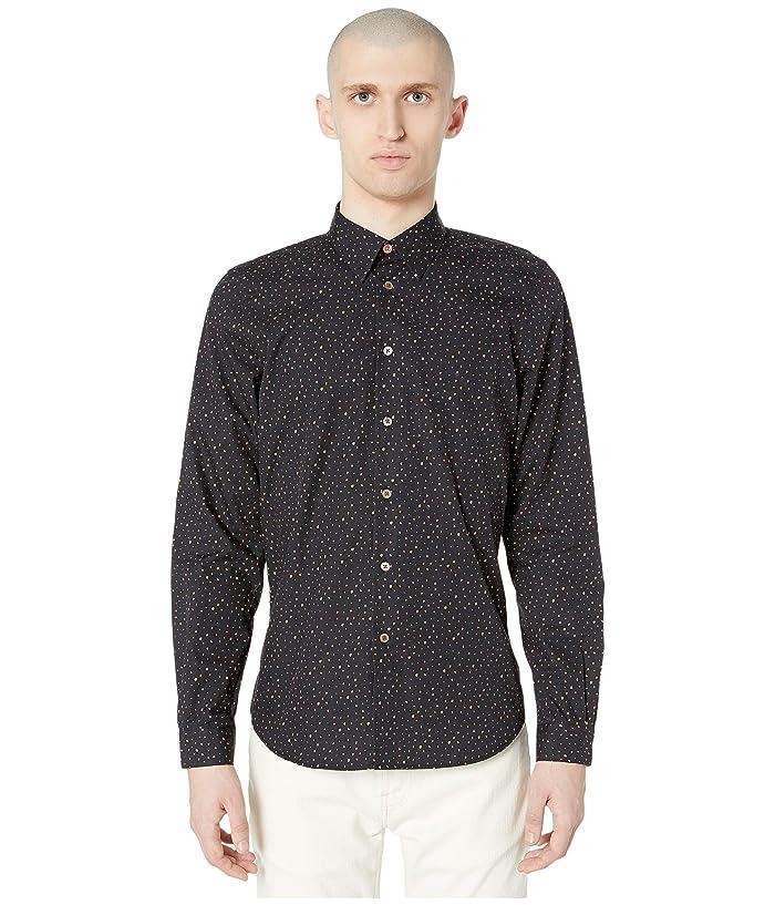 Paul Smith  PS Polka Dot Long Sleeve Shirt (Black) Mens Clothing