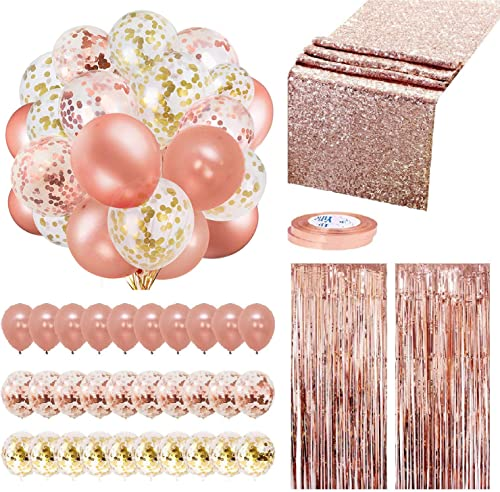 Rose Gold Balloons Party Decorations Supplies Set 35 Pack Include 30 Balloons, 2 Foil Fringe Curtains, 1 Rose Gold Se...