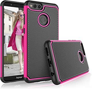 Tekcoo for Honor 7X Case, Tekcoo 2018 Huawei Mate SE Case for Girls, [Tmajor] Shock Absorbing [Rose] Hybrid Rubber Silicone & Plastic Scratch Resistant Bumper Rugged Grip Hard Cute Sturdy Cases Cover