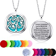 MTLEE Aromatherapy Essential Oil Diffuser Necklace Locket Pendant Stainless Steel Perfume Necklace with 16 Refill Pads and 24 Inch Adjustable Chain (Tree E)