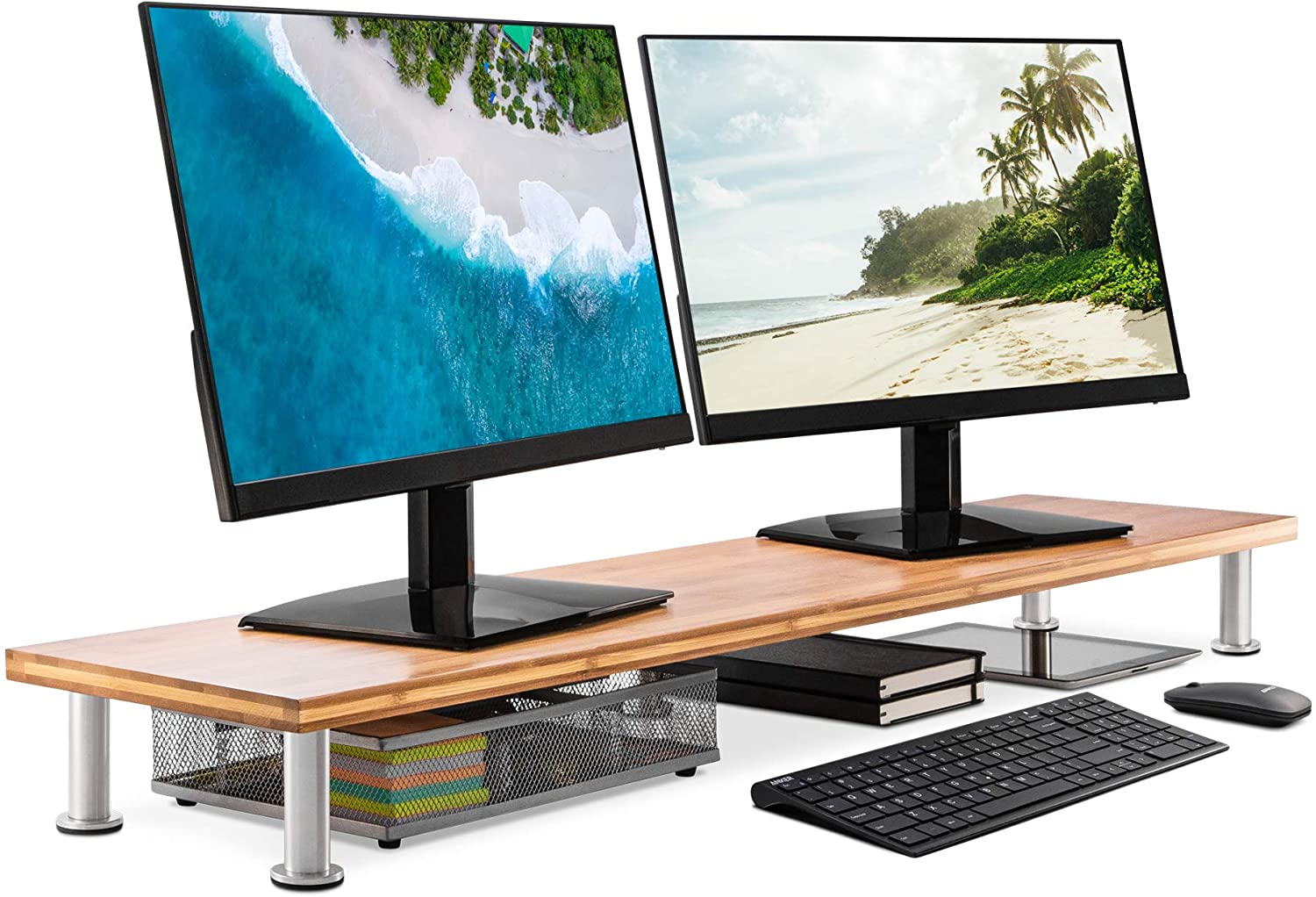 Large Dual Monitor Stand for Computer Screens, Bamboo Riser Supports Monitors, Printers, Laptops or TVs up to 100lbs, Perfect Shelf Organizer for Office Desk Accessories & TV Stands, Natural