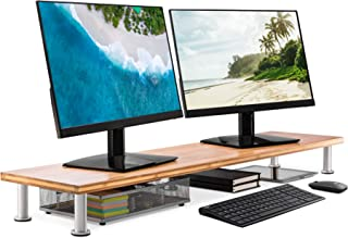 غرفه مانیتور بزرگ دوگانه برای صفحه نمایش های رایانه ای - جامد بامبو Riser پشتیبانی از سنگین ترین مانیتور ، چاپگر ، لپ تاپ یا تلویزیون - سازمان دهنده قفسه ایده آل برای لوازم جانبی دفتر و غرفه تلویزیون (طبیعی)