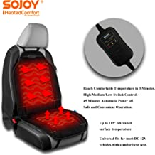Sojoy Universal 12V Heated Smart Multifunctional Car Seat/Super Soft Velour Thick Cushion Warmer High/M/Low, 45 Mins Automatically Turn-Off Timer,3 Temp Switch, Black(SJ227R008)