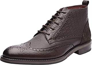 Allonsi Arber Formal Genuine Leather Wingtip Chukka Men's Boots with Low Heels and TPR Sole