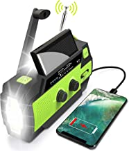 Emergency Flashlight Radio,2020 Upgraded AM/FM/NOAA Weather Solar Crank Radio with 4000 mAh Replaceable Li-ion Battery, Se...