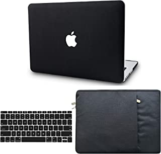 """KECC Laptop Case for MacBook Pro 15"""" (2019/2018/2017/2016) w/Keyboard Cover + Sleeve Italian Leather Case A1990/A1707 3 in 1 Bundle (Black Leather)"""