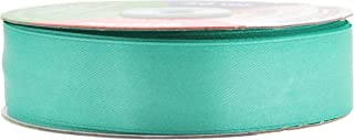 Mandala Crafts Fabric Satin Ribbon for Hair Bow Making, Sewing, Gift Wrapping, Flower Bouquets, Party Decorating, and Weddings (1 Inch 50 Yards, Aqua)