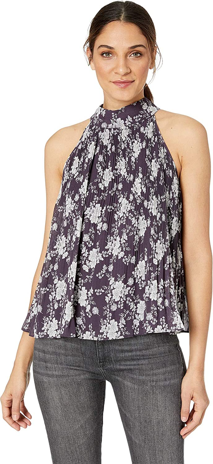 1.STATE Womens Halter Tie Pleated Forest Delicate Blouse