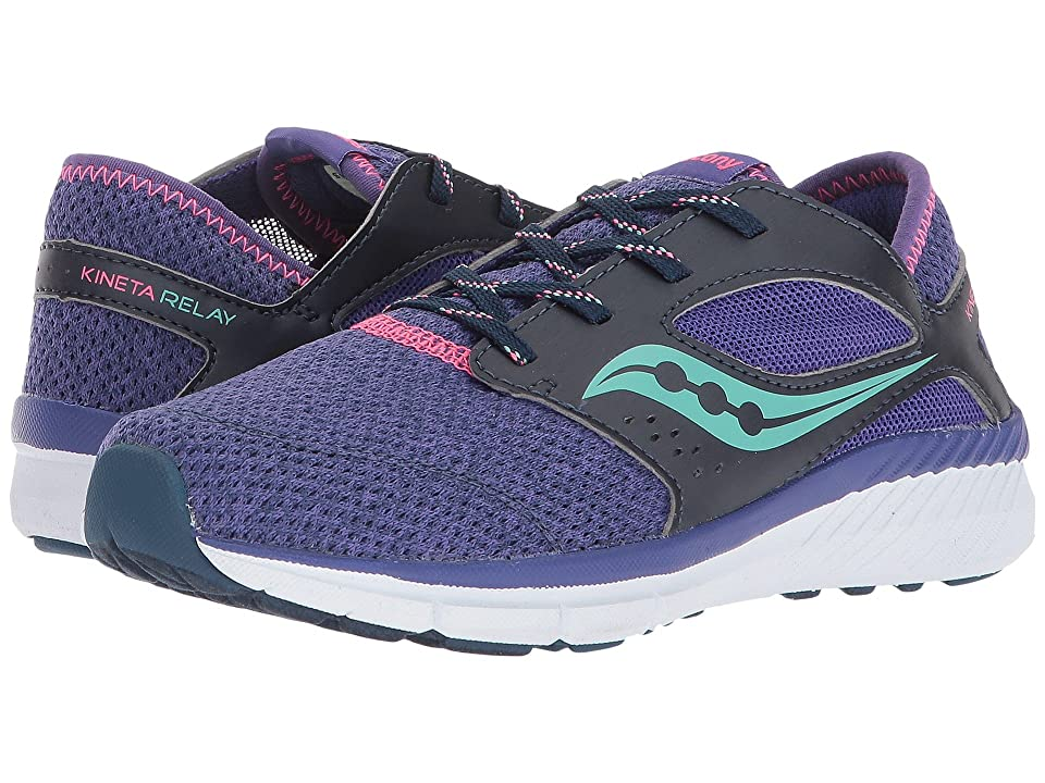 Saucony Kids Kineta Relay (Little Kid/Big Kid) (Navy/Heather) Girl