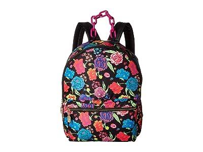 Betsey Johnson Nylon Large Backpack (Black Floral) Backpack Bags