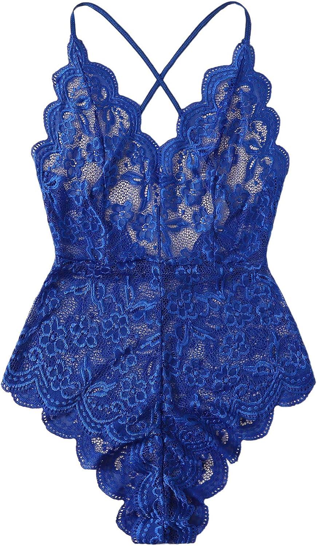 Floerns Women's Floral Lace V Neck Criss Cross Cami Teddy Bodysuit