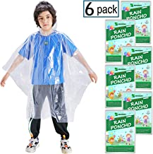 SINGON Disposable Rain Ponchos for Adults (4-10 Pack) - 60% Extra Thicker Men or Women Waterproof Emergency Rain Ponchos with Hood - Lightweight Universal Design - Clear,Blue red,Yellow