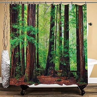 ZHENG Cortina de Baño,Impermeable,Secuoyas Noroeste Selva Tropical Tropical Escénica Naturaleza Salvaje Rama para baño,bañera, 180cmx180cm