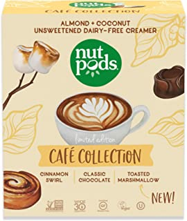 nutpods Cafe Collection including flavors Cinnamon Swirl, Classic Chocolate, and New Toasted Marshmallow. Unsweetened non-dairy liquid coffee creamer made from almonds and coconuts (3pack)