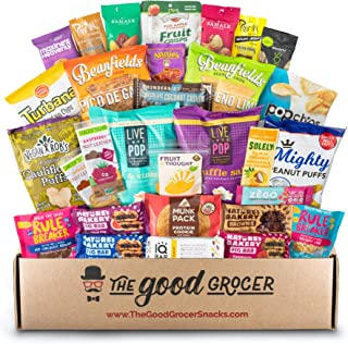 Deluxe VEGAN Snacks Care Package: Plant-based, Non-GMO, Vegan Jerky, Snack Bars, Protein Cookies, Vegan Puffs, Nuts, Healthy Gift Basket Alternative, Snack Variety Pack (Deluxe Vegan, 30)