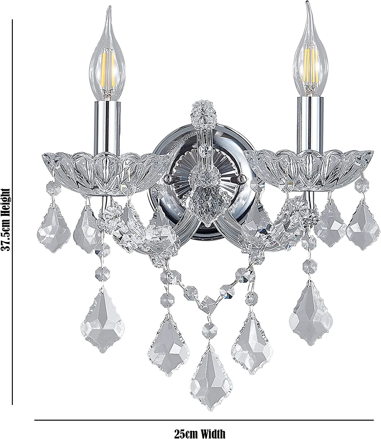 Elegant K9 Crystal Available in Different Colour Living Room and Hallway for Bedroom Am-Light Contemporary Style Two Candles Wall Light Chrome and Clear