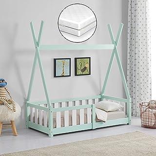 [en.casa] Barnsäng med madrass 70 x 140 cm mint med fallskydd i Tipi-design av furu ungdomssäng träsäng hussäng