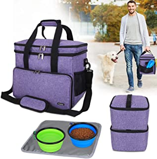 Teamoy Double Layer Dog Travel Bag with 2 Silicone...