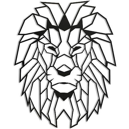 Amazon Com Lion Head Xl Geometric Metal Wall Art By Hoagard 65cm X 90cm Geometric Metal Wall Art Wall Decoration Everything Else