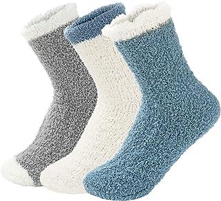 Zando Women Fuzzy Socks Warm Christmas Fuzzy Socks Winter Slipper Socks Super Soft Sleep Socks Cozy Home Fluffy Socks Micr...