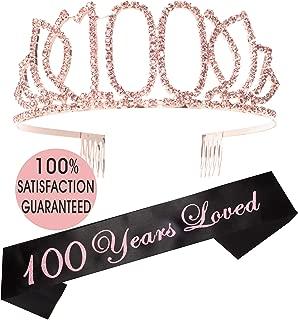 100th Birthday Tiara and Sash Pink  Happy 100th Birthday Party Supplies   100 Year Loved Black Glitter Satin Sash and Crystal Tiara Birthday Crown for 100th Birthday Party Supplies and Decorations…