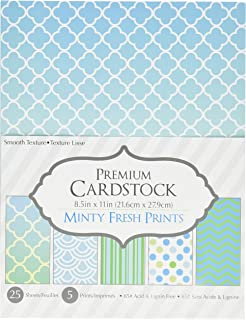 Darice 30020597 Patterned 8.5 by 11 Cardstock Paper Pack, Minty Fresh Prints, 8.5