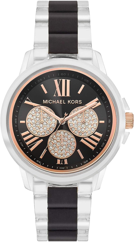 Atlanta Mall Michael Kors Women's Brynn Multifunction Clear-Tone Nylon Tampa Mall Watch